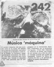 Front 242 en Level 0 Prensa