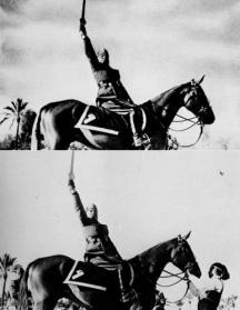 Benito Mussolini no quiso aparecer con ayuda en esta imagen de 1942.
