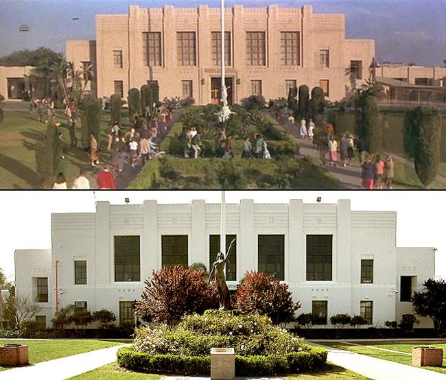 Arriba 1978 Rydell High School en el film - Abajo años después el auténtico Venice High School