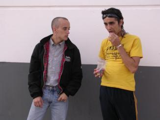"""José García Ruiz como Bujías en """"Bujías y Manías"""" junto a Canco Rodríguez (Manías)"""