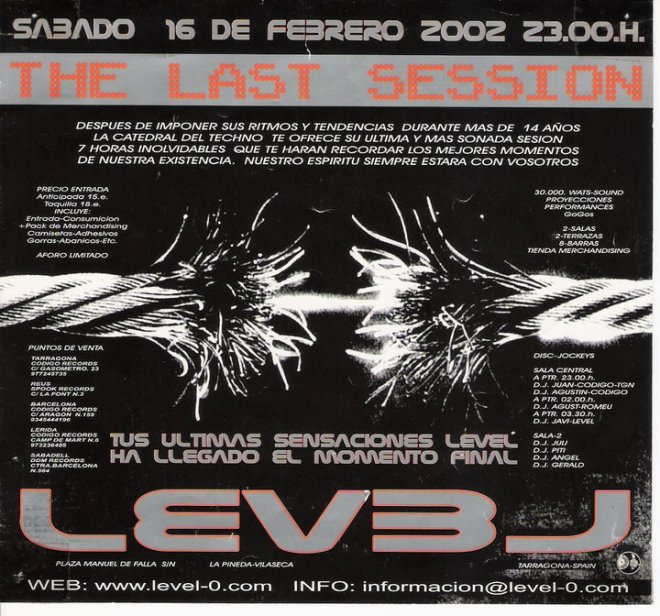 Flyer del cierre de la sala Level Ø